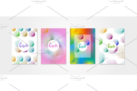 Poster Covers Set With Circle Shapes