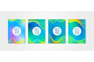 Poster covers set with sound wave shapes 1.