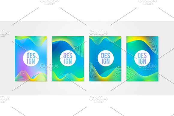 Poster Covers Set With Sound Wave Shapes 1