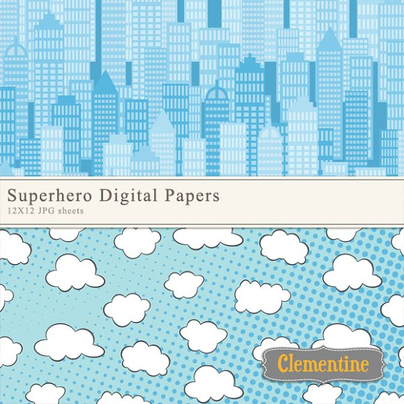 Superhero Digital Papers in Patterns - product preview 1
