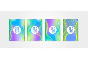 Poster covers set with sound wave shapes 2. Trendly modern hipster and memphis background colors.