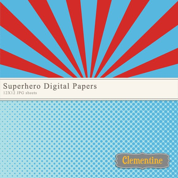 Superhero Digital Papers in Patterns - product preview 2