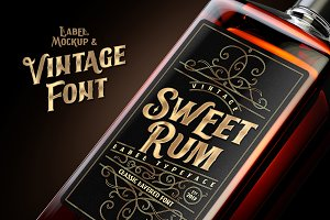 Sweet Rum Font, Label, Mockup!