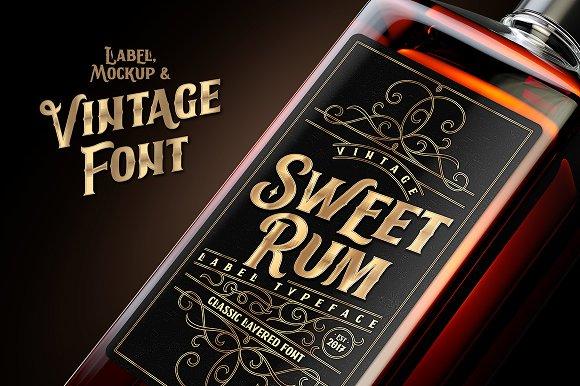 Sweet Rum Font Label Mockup