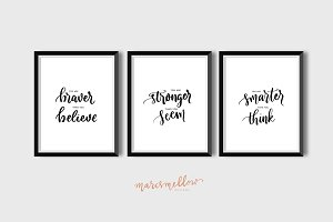 Set of 3 - You are braver, stronger