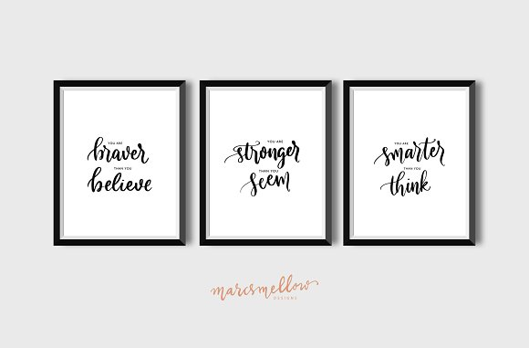 Set Of 3 You Are Braver Stronger