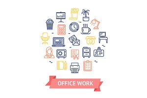 Office Work Line Icon Set