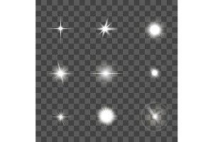 Glowing Light Effect Set. Vector