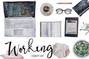 Watercolor Working Clipart Set