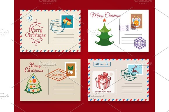 Christmas Postcard Template Set