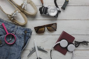 Top view fashion to travel