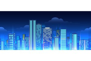 Neon lights cityscape seamless pattern