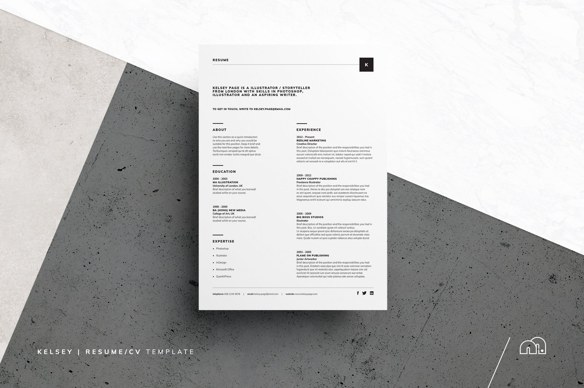 Resume/CV - Kelsey ~ Resume Templates ~ Creative Market