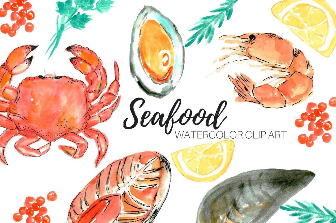 Watercolor seafood clip art ~ Illustrations ~ Creative Market