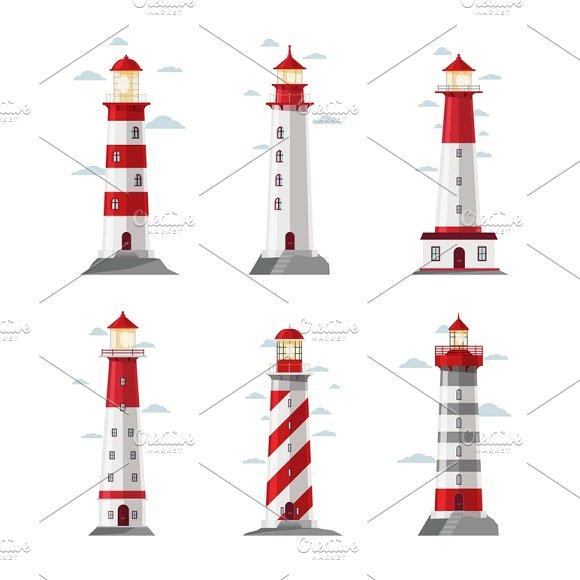 Cartoon Lighthouse Icons