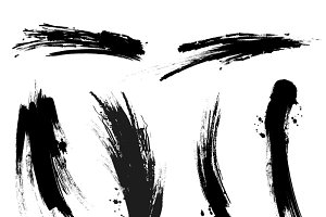Black mascara brush trace strokes