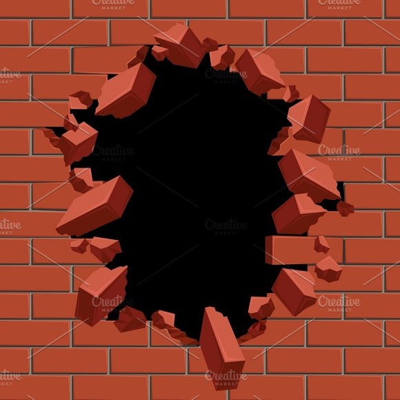 Exploding Out Hole In Red Brick Wall