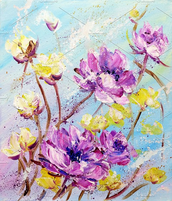 Hand Painted Purple And Yellow Flowers