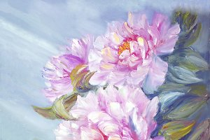 Pink peony flowers blossom bouquet