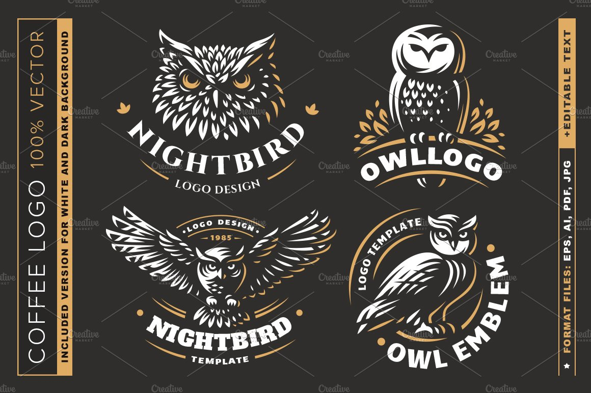 Owl logo set ~ Logo Templates ~ Creative Market