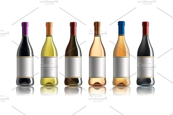 Red Wine Bottle Set Of White Rose And Red Wine Bottles Isolated On White Background