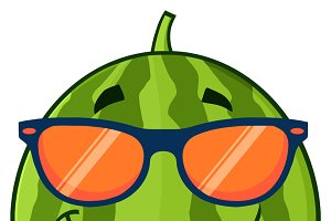 Watermelon Fruit With Sunglasses