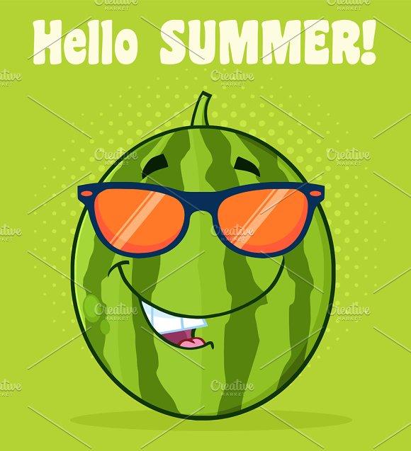 Smiling Green Watermelon Fruit
