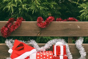 A Christmas bench
