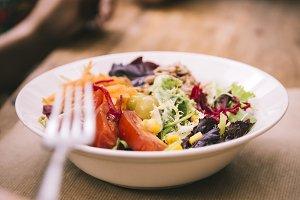 Mediterranean salad dish in restaurant