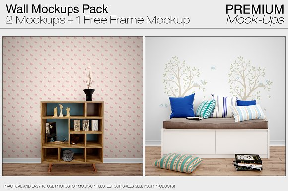 Wall Mockups Pack-Graphicriver中文最全的素材分享平台