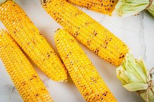 Grilled golden corn