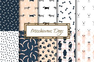 Mischievous Dogs seamless patterns