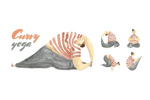 Curvy Yoga in Watercolor