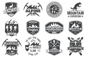 Vintage mountain expedition badges