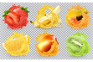 Fresh fruits and splashes, vector