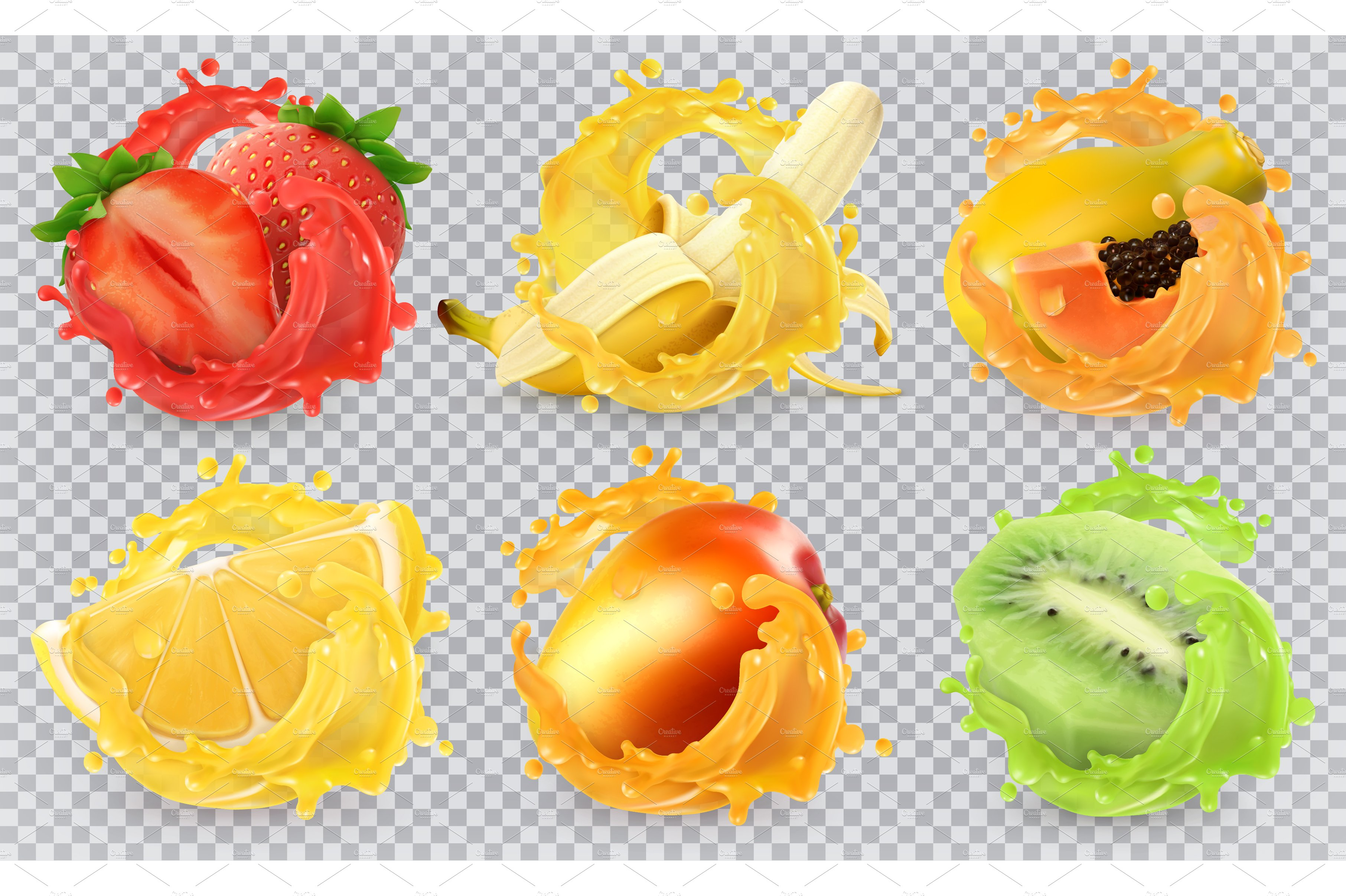 1783564 Fresh Fruits And Splashes Vector on vector furniture symbols