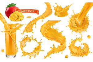 Orange paint splash. Vector