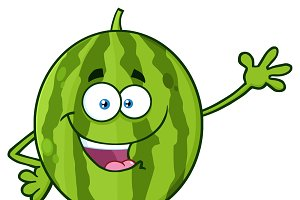 Green Watermelon Waving For Greeting