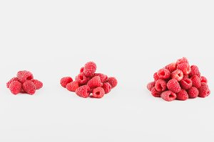 Background from raspberries, isolated