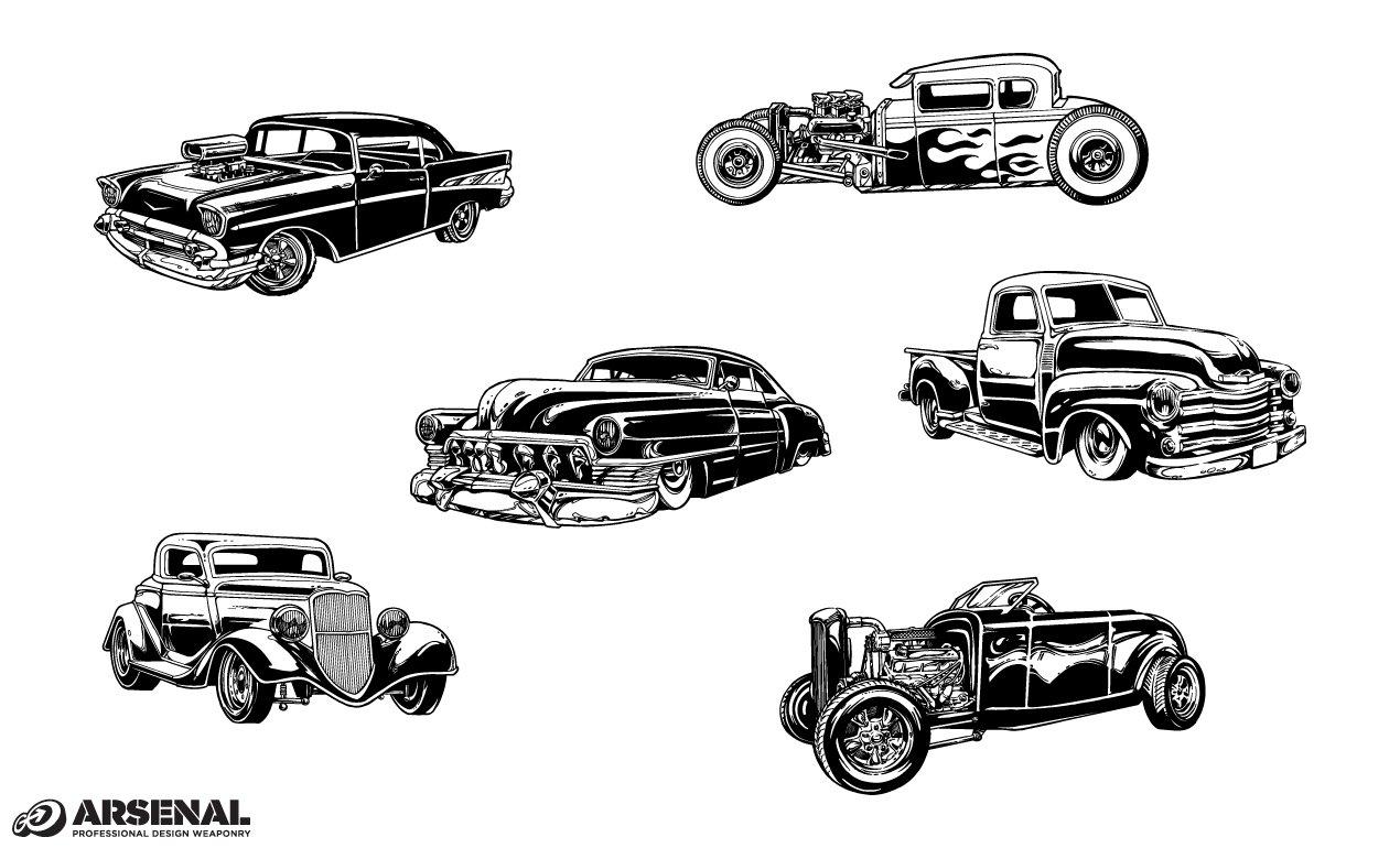 Vintage Cars Vector Pack ~ Illustrations ~ Creative Market