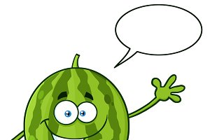 Green Watermelon With Speech Bubble