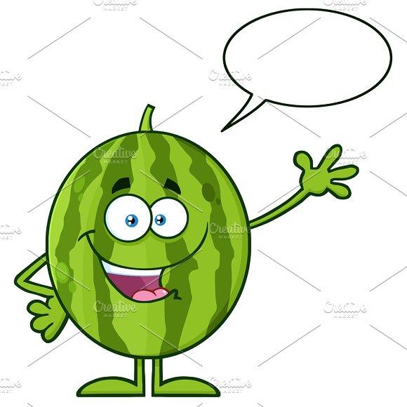 Green Watermelon With Speech Bubble