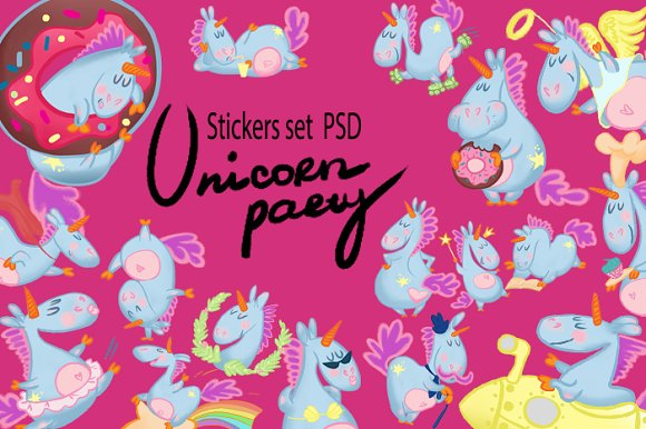 Stickers Set Unicorns.psd