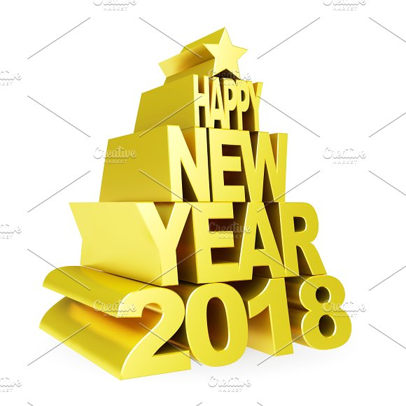 Happy New Year 2018 Golden 3D Numbers And Text On A White Background