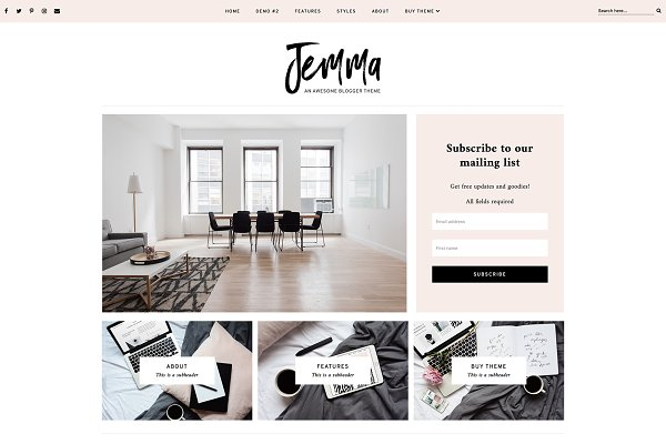 Website Templates: Georgia Lou Studios - Jemma Responsive Blogger Template