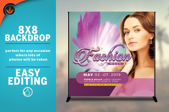 Fashion Week 8x8 Backdrop Template in Templates