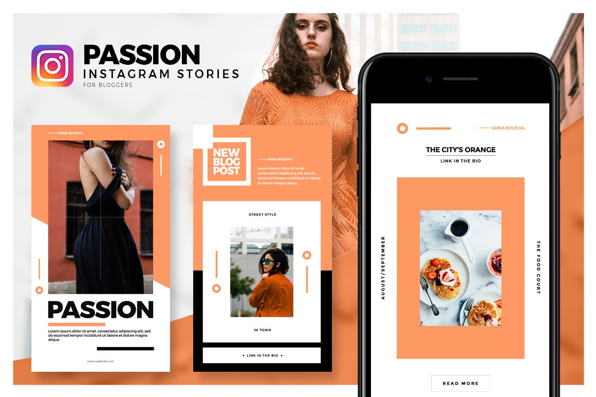 passion instagram stories pack instagram templates creative market. Black Bedroom Furniture Sets. Home Design Ideas