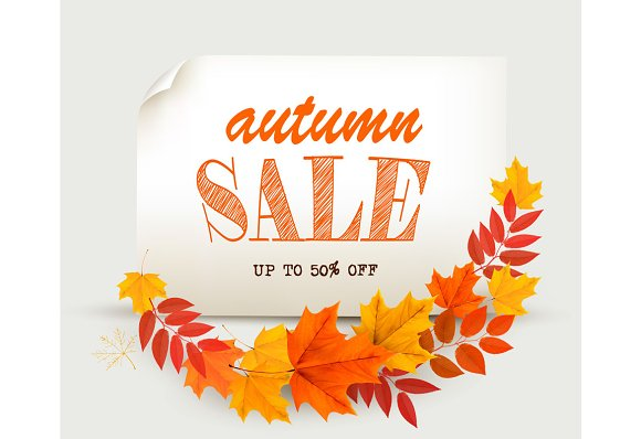 Autumn Sales Card With Leaves