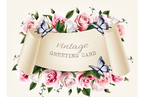 Natural vintage greeting frame