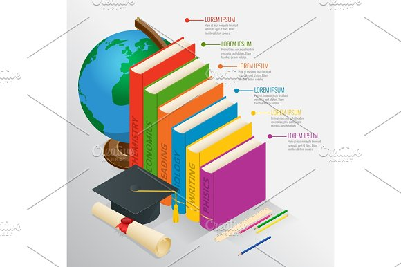 Books Step Education Timeline Isometric Knowledge School And Back To School Vector Illustration Can Be Used For Workflow Layout Banner Diagram Number Options Web Design And Infographics